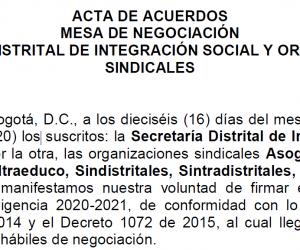 Acuerdo Laboral 2020 – Secretaria Distrital De Integración Social